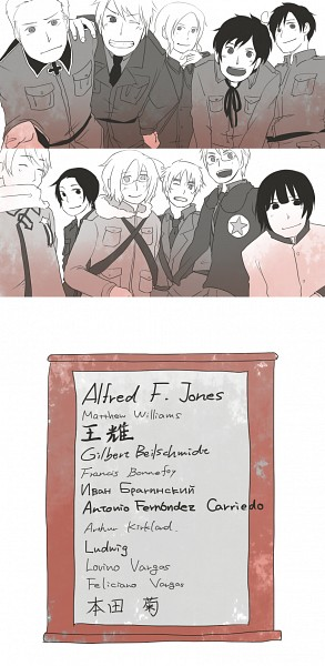 Tags: Anime, Pixiv Id 1803529, Axis Powers: Hetalia, Hetaoni, South Italy, United States, France, Germany, Japan, Canada, Russia, Spain, Prussia