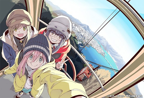Tags: Anime, Afro (Artist), Yuru Camp, Heya Camp, Inuyama Aoi, Oogaki Chiaki, Kagamihara Nadeshiko, Hill, Tramway, Twitter, DVD (Source), Official Art