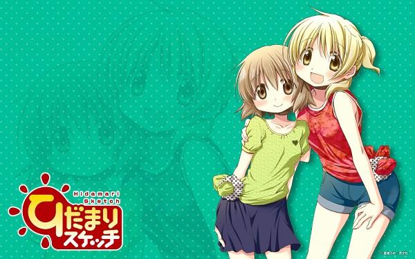 Tags: Anime, Aoki Ume, Hidamari Sketch, Yuno (Hidamari Sketch), Miyako (Hidamari Sketch), Wallpaper