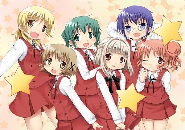 Tags: Anime, Aoki Ume, Hidamari Sketch, Hiro (Hidamari Sketch), Miyako (Hidamari Sketch), Yuno (Hidamari Sketch), Sae (Hidamari Sketch), Nori (Hidamari Sketch), Nazuna (Hidamari Sketch), Wallpaper