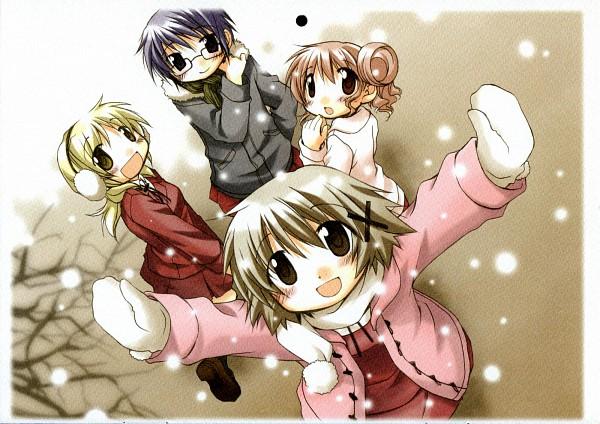 Tags: Anime, Aoki Ume, Hidamari Sketch, Hiro (Hidamari Sketch), Miyako (Hidamari Sketch), Yuno (Hidamari Sketch), Sae (Hidamari Sketch), Wallpaper