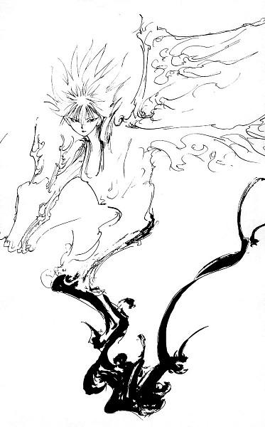 Tags: Anime, Togashi Yoshihiro, Yu Yu Hakusho, Hiei, Sketch, Mobile Wallpaper