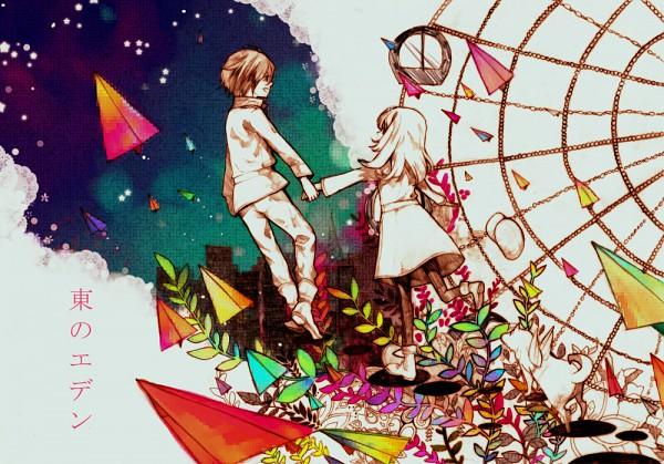 Tags: Anime, Sousou (Artist), Higashi no Eden, Morimi Saki, Takizawa Akira, Paper Airplane, Ferris Wheel, Pixiv, Fanart, Eden Of The East