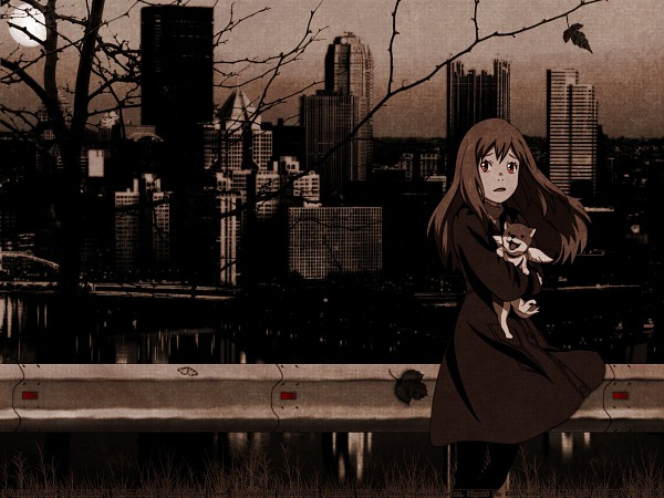 Tags: Anime, Higashi no Eden, Morimi Saki, Angelika (Higashi no Eden), Hugging Animal, Wallpaper, Eden Of The East