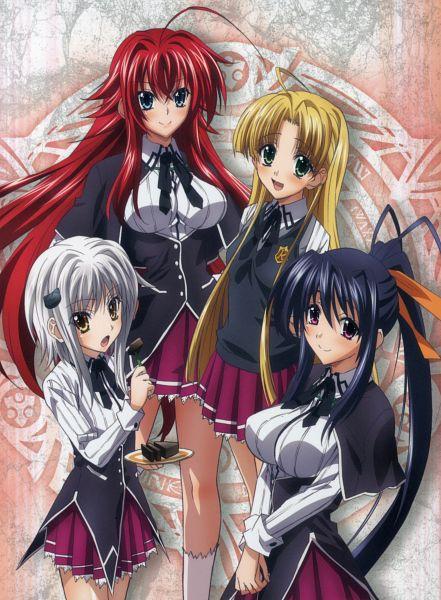 Tags: Anime, Highschool DxD, Himejima Akeno, Rias Gremory, Toujou Koneko, Asia Argento, Cat Clip, Official Art, Scan