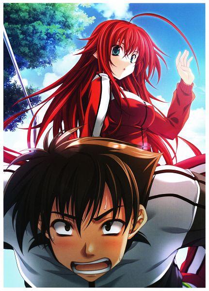 Tags: Anime, Miyama Zero, Highschool DxD, Miyama-Zero Artworks: Highschool DxD, Rias Gremory, Hyoudou Issei, Official Art, Scan