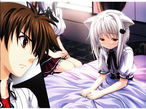 Tags: Anime, Miyama Zero, Highschool DxD, Miyama-Zero Artworks: Highschool DxD, Toujou Koneko, Hyoudou Issei, Himejima Akeno, Cat Clip, Official Art, Scan
