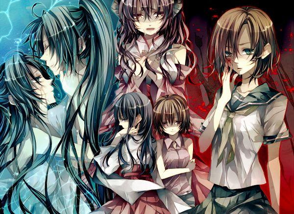 Tags: Anime, Tsukioka Tsukiho, 07th Expansion, Higurashi no Naku Koro ni, Ryuuguu Rena, Furude Rika, Sonozaki Shion, Houjou Satoko, Sonozaki Mion, Furude Hanyuu, PNG Conversion, When They Cry