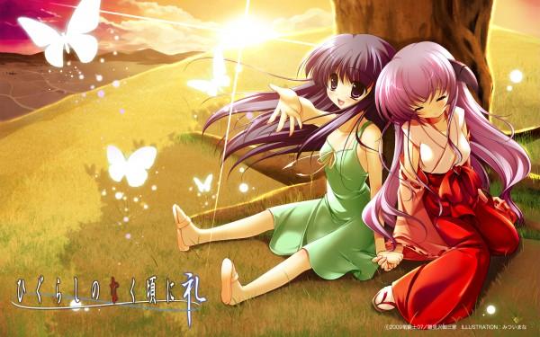 Tags: Anime, Mitsui Mana, 07th Expansion, Higurashi no Naku Koro ni Kai, Higurashi no Naku Koro ni, Furude Hanyuu, Furude Rika, Wallpaper, When They Cry