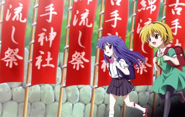 Tags: Anime, Sakai Kyuuta, Studio DEEN, Higurashi no Naku Koro ni, Higurashi no Naku Koro ni Kai, Furude Rika, Houjou Satoko, Wallpaper, Scan, DVD (Source), Official Art, When They Cry