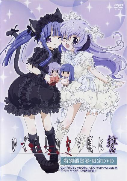 Tags: Anime, Sakai Kyuuta, Studio DEEN, Higurashi no Naku Koro ni Kai, Higurashi no Naku Koro ni, Furude Hanyuu, Furude Rika, Sweet Lolita, Scan, Official Art, DVD (Source), Mobile Wallpaper, When They Cry
