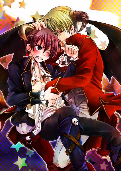 Tags: Anime, Gepan, 07th Expansion, Nexon, Mabinogi, Higurashi no Naku Koro ni, Houjou Satoshi, Maebara Keiichi, Incubus (Mabinogi), Incubus, Caressing, Mobile Wallpaper, When They Cry