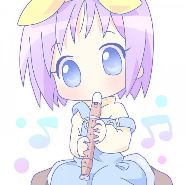 Tags: Anime, Mirai (Sugar), Lucky☆Star, Hiiragi Tsukasa, Flute, Overalls, Pixiv