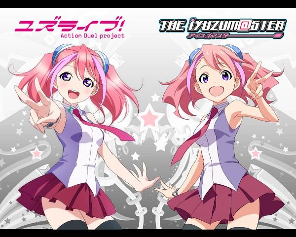 Tags: Anime, Rokuro, Yu-Gi-Oh!, Yu-Gi-Oh! ARC-V, Hiiragi Yuzu, THE iDOLM@STER (Parody), Love Live! (Parody), Twitter, Fanart, PNG Conversion, Zuzu Boyle