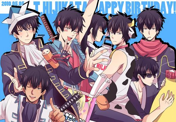Tags: Anime, 50 Yen, Gintama, Tosshi, Mayora 13, Justaway, Hijikata Toushirou, Origami Hat, Milk, Mayonnaise, Origami, Cow Costume, PNG Conversion