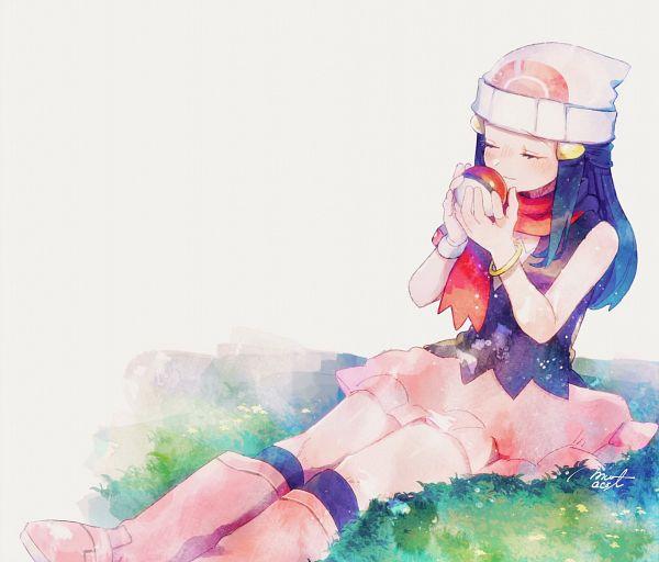 Tags: Anime, Hanenbo, Pokémon Diamond & Pearl, Pokémon, Hikari (Pokémon), Sitting On Grass, Dawn (pokemon)