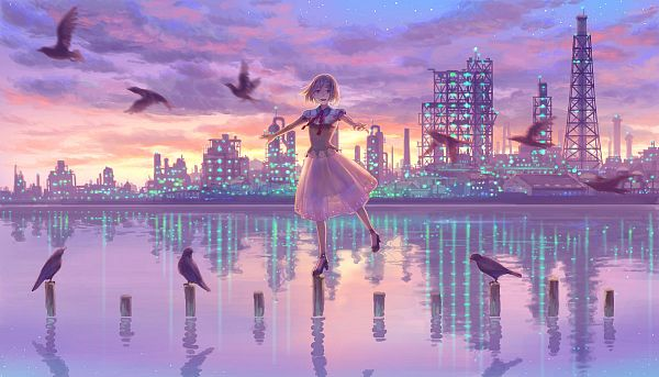 Tags: Anime, Hiko (Scape), Utility Pole, Water Reflection, Original, Pixiv