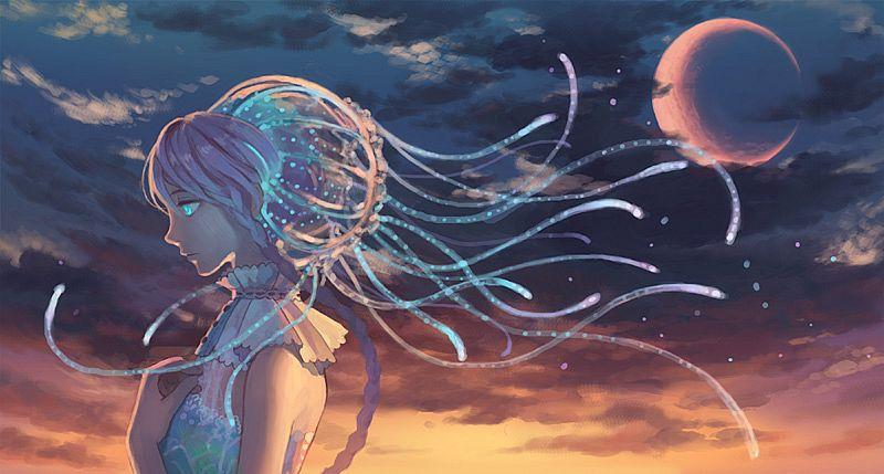 Tags: Anime, Hiko (Scape), Jellyfish Person, Aquatic (Personification), Facebook Cover, Pixiv, Original