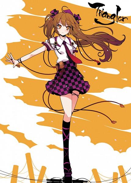 Tags: Anime, Ideolo, NEKO WORKi, Triangler, Touhou, Himekaidou Hatate, Balancing, Utility Pole, Pixiv, Mobile Wallpaper, Hatate Himekaidou