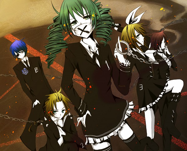 Tags: Anime, Pixiv Id 2139435, Project DIVA F, VOCALOID, MEIKO (VOCALOID), Hatsune Miku, KAITO, Kagamine Len, Kagamine Rin, Medical Mask, Project DIVA Dark Angel, Himitsu Keisatsu, Secret Police