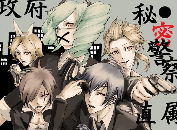 Tags: Anime, Pegi, Project DIVA F, VOCALOID, MEIKO (VOCALOID), Hatsune Miku, KAITO, Kagamine Len, Kagamine Rin, Medical Mask, Fanart, Himitsu Keisatsu, Project DIVA Dark Angel, Secret Police