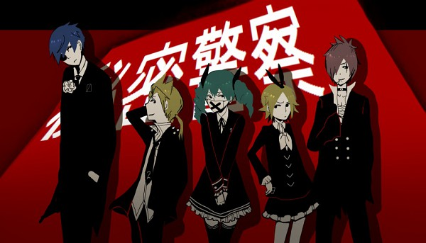 Tags: Anime, Detourmawari, Project DIVA F, VOCALOID, KAITO, Kagamine Len, Kagamine Rin, MEIKO (VOCALOID), Hatsune Miku, Medical Mask, Himitsu Keisatsu, Project DIVA Dark Angel, Secret Police