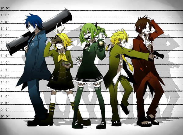 Tags: Anime, Itou (Pixiv2530398), Project DIVA F, VOCALOID, Kagamine Len, Kagamine Rin, MEIKO (VOCALOID), Hatsune Miku, KAITO, Rocket Launcher, Height Chart, Rocket, Medical Mask, Secret Police