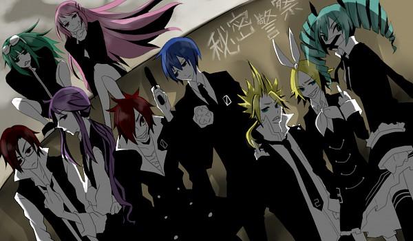 Tags: Anime, Pixiv Id 1049524, Project DIVA F, VOCALOID, MEITO, Megurine Luka, Hatsune Miku, Hiyama Kiyoteru, KAITO, GUMI, Kagamine Len, Kamui Gakupo, Kagamine Rin, Secret Police