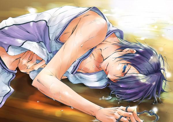 Tags: Anime, Pixiv Id 3788474, Kuroko no Basuke, Himuro Tatsuya, Basketball Uniform (Yousen High), Ring Necklace, Shirt Lift, Pixiv, Yousen High