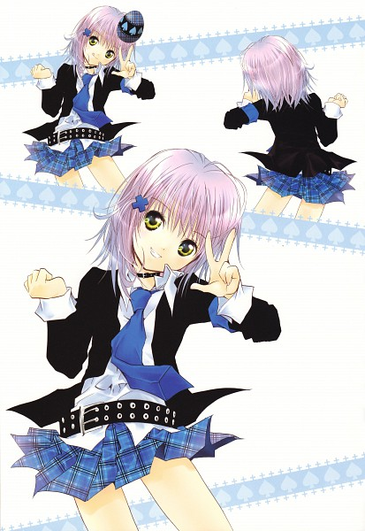 Tags: Anime, PEACH-PIT, Shugo Chara!, Shugo Chara! Illustrations 2, Hinamori Amu, Spade (Card), Mobile Wallpaper, Official Art, Scan