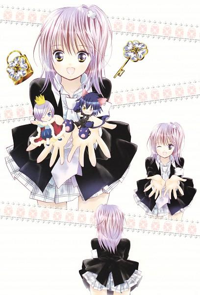 Tags: Anime, PEACH-PIT, Shugo Chara!, Shugo Chara! Illustrations 2, Yoru, Kiseki, Hinamori Amu, Royal Robe, Scan, Mobile Wallpaper, Official Art