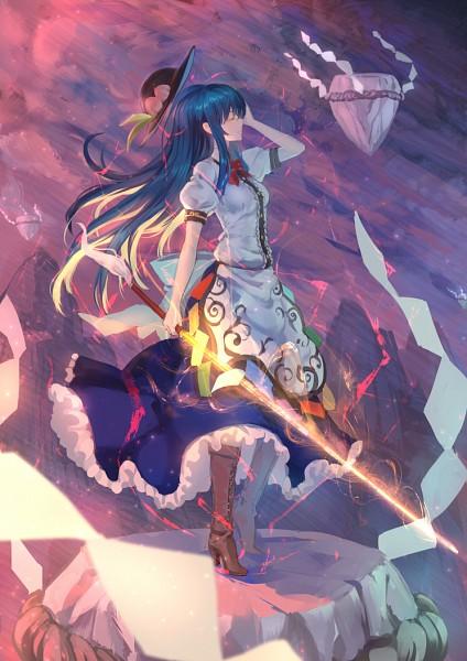 Tags: Anime, Ryuuzaki Itsu, Touhou, Hinanawi Tenshi, Keystone, Sword of Hisou, Fanart, Pixiv, Mobile Wallpaper, Tenshi Hinanawi