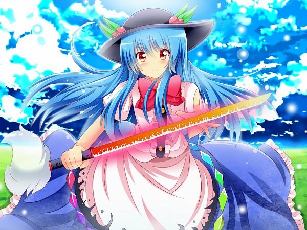 Tags: Anime, Shinekalta, Touhou, Hinanawi Tenshi, Glowing Weapons, Sword of Hisou, Pixiv, Tenshi Hinanawi
