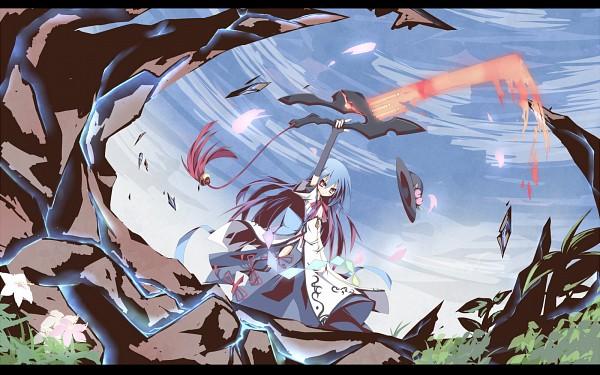 Tags: Anime, Ichiyan, Touhou, Hinanawi Tenshi, Sword of Hisou, Peach (Fruit), 1600x1000 Wallpaper, Wallpaper, Pixiv, Tenshi Hinanawi