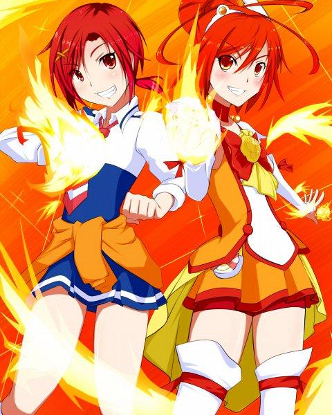 Tags: Anime, Kotuzui Yositune, Smile Precure!, Hino Akane, Cure Sunny, Orange Shorts, Jacket Around Waist, Fanart From Pixiv, Pixiv, Fanart