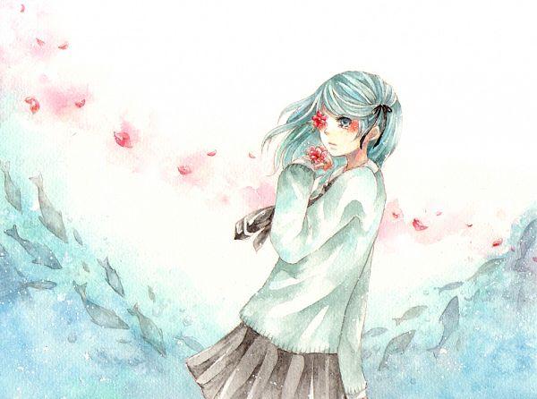 Tags: Anime, Fuu (Goingmyway421), VOCALOID, Hatsune Miku, Eye Flower, Watercolor, Traditional Media, Pixiv, Hirari Hirari