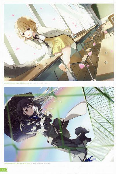 Tags: Anime, Tiv, Hiru mo Yoru mo Ryoute ni Akujo, Mitani Hinata, Hatagaya Tsukuyo, Roof, Scan, Official Art, Mobile Wallpaper
