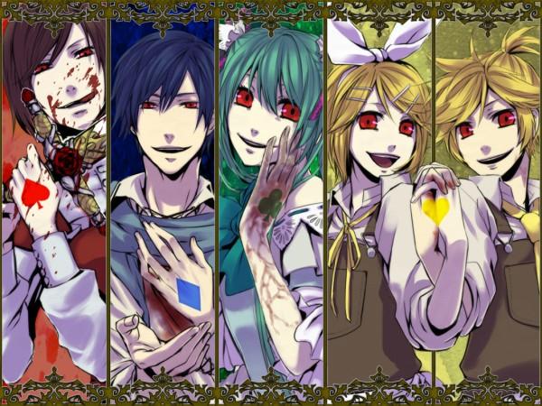 Tags: Anime, Ariko, VOCALOID, Kagamine Rin, MEIKO (VOCALOID), Hatsune Miku, KAITO, Kagamine Len, Hitobashira Alice, Alice Human Sacrifice