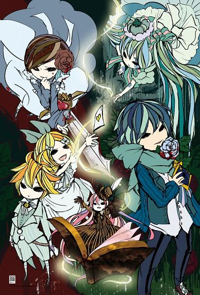 Tags: Anime, Kokuto-yuki, VOCALOID, Kagamine Rin, MEIKO (VOCALOID), Megurine Luka, Hatsune Miku, KAITO, Kagamine Len, Barcode, Dark Woods Circus, Hitobashira Alice, Fanart, Alice Human Sacrifice