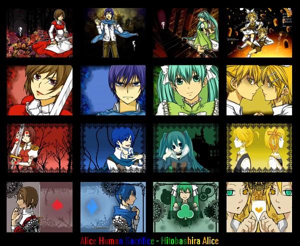 Tags: Anime, VOCALOID, Kagamine Len, Kagamine Rin, MEIKO (VOCALOID), KAITO, Hatsune Miku, Clubs (Card), Spade (Card), Artist Request, Hitobashira Alice, Alice Human Sacrifice