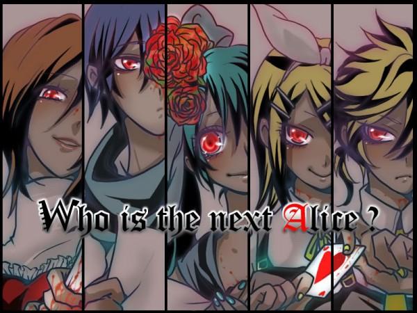 Tags: Anime, Seiga Id 28526893, VOCALOID, MEIKO (VOCALOID), Hatsune Miku, KAITO, Kagamine Len, Kagamine Rin, Aqua Nails, Fanart, Hitobashira Alice, Alice Human Sacrifice