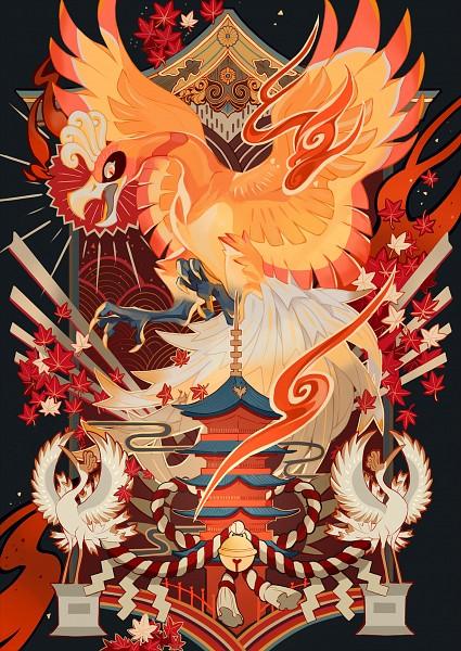 Tags: Anime, Pixiv Id 7310283, Pokémon, Ho-oh, Seigaiha, Shimenawa, Egasumi, Statue, B.I.A, Pixiv, Mobile Wallpaper, Legendary Pokémon, Shiny Pokémon