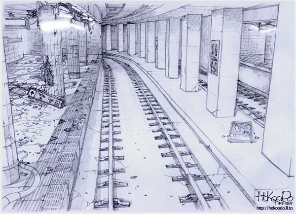 Tags: Anime, Hokoodo, Railroad Tracks, Sketch