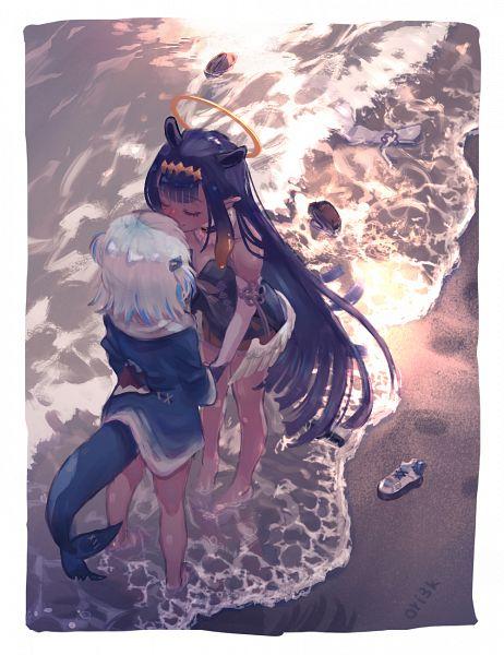 Tags: Anime, Pixiv Id 67352832, Gawr Gura, Ninomae Ina'nis, Hololive, Gawr Gura Ch., Ninomae Ina'nis Ch., Soaking Feet
