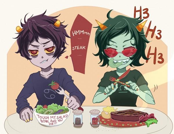 Tags: Anime, Sarakrista, Homestuck, Terezi Pyrope, Karkat Vantas, Salad, deviantART, Fanart, Fanart From DeviantART