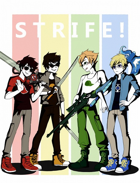 Tags: Anime, Blackoutballad, Homestuck, Dave Strider, Dirk Strider, John Egbert, Jake English, Out of Character, Personality Switch, Sniper Rifle, Fanart, Tumblr, PNG Conversion