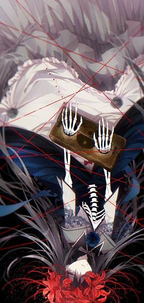 Tags: Anime, You (Roka), Mahou Shoujo Madoka☆Magica, Homulilly, Akemi Homura, Skeleton Arm, Pixiv, Fanart From Pixiv, Fanart, PNG Conversion