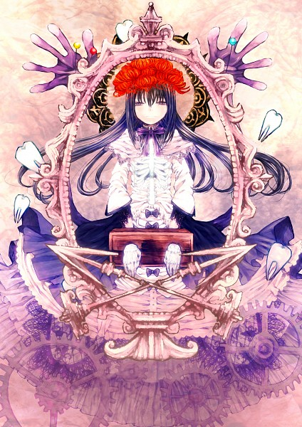 Tags: Anime, Madatasukaru, Mahou Shoujo Madoka☆Magica, Akemi Homura, Homulilly, Mobile Wallpaper, Pixiv, Fanart, Fanart From Pixiv