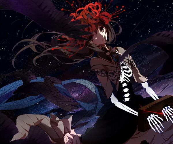 Tags: Anime, Pixiv Id 12763461, Mahou Shoujo Madoka☆Magica, Akemi Homura, Homulilly, Lace Trim, Gray Bow, Skeleton Arm, Gray Neckwear, Ribs, Spine (Bone), Pixiv, Fanart From Pixiv
