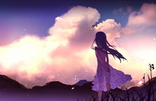 Tags: Anime, Rushka, Ano Hi Mita Hana no Namae o Bokutachi wa Mada Shiranai., Honma Meiko, Power Lines, Purpure, Utility Pole, Fanart From Pixiv, Fanart, Pixiv